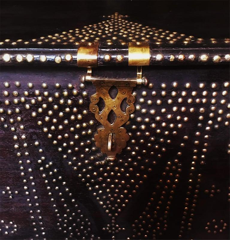 Late 19th Century 19th Century Teak Brass-Studded Zanzibar Chest For Sale