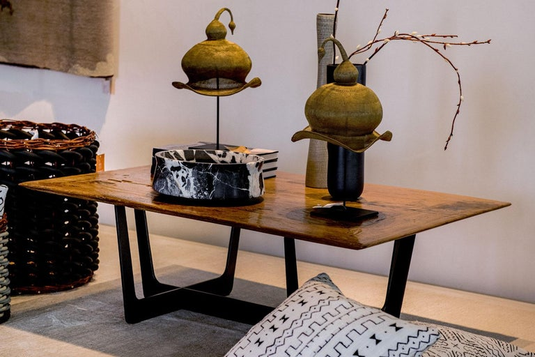 Indonesian 19th Century Teak Top with Custom Iron Base Coffee Table For Sale