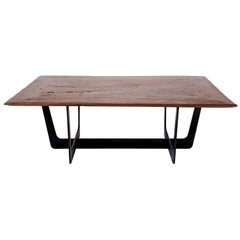 19th Century Teak Top with Custom Iron Base Coffee Table