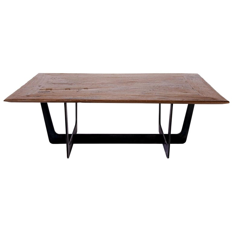 19th Century Teak Top with Custom Iron Base Coffee Table For Sale