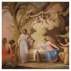 19th Century Tempera on Paper Italian Antique Religious Painting, 1850