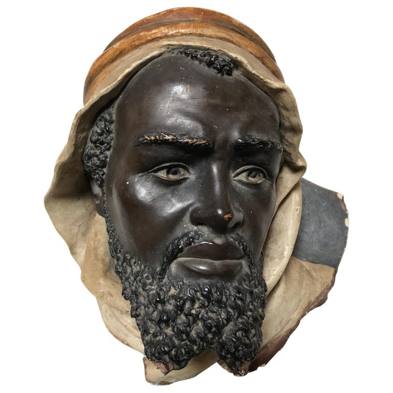 19th Century Terracotta Bust of an Arab Man For Sale