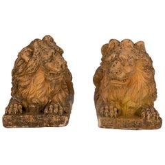 19th Century Terracotta Garden Lions