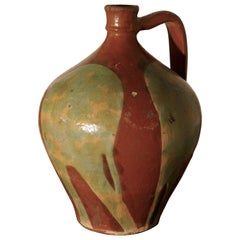 19th Century Terracotta Olive Oil Jug from Portugal