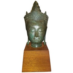 19th Century Thai Bronze Buddha Head on Stand