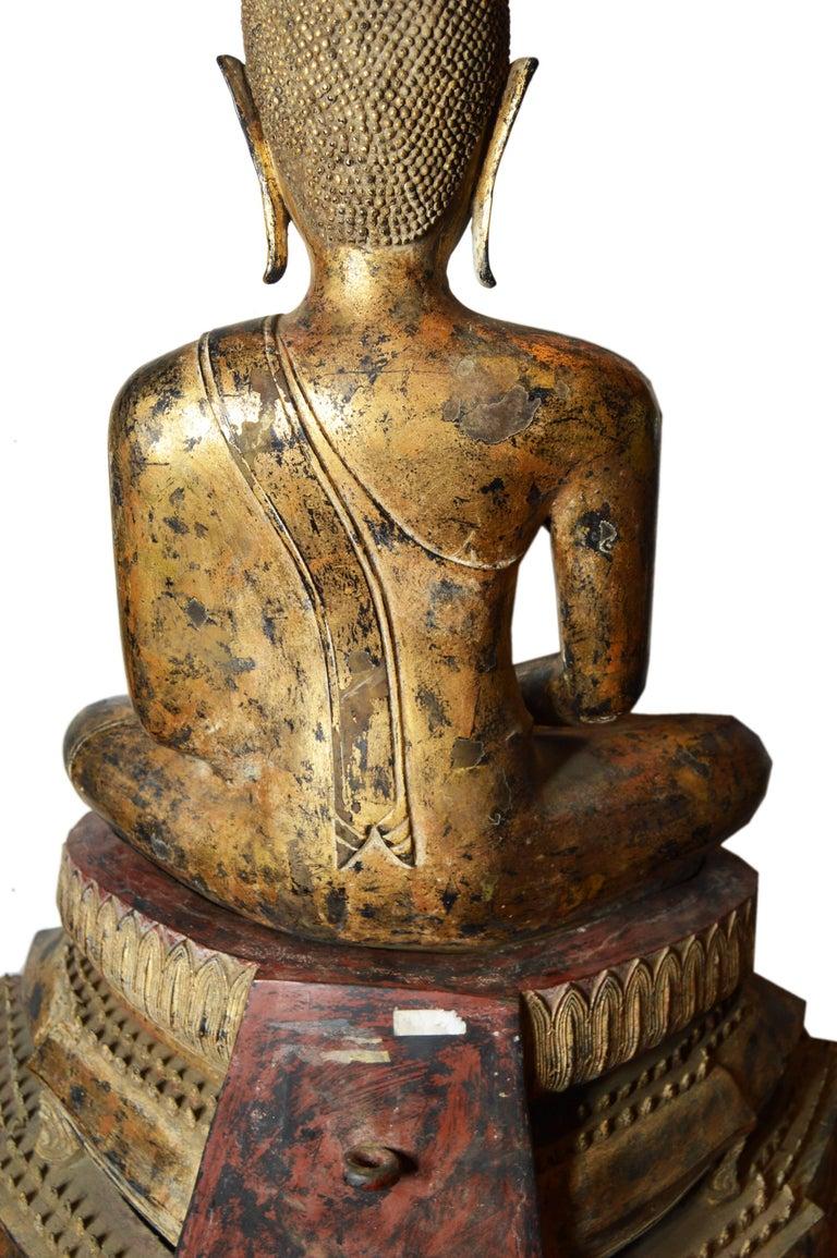 19th Century Thai Gilded Bronze Meditative Seated Buddha Statue on Pedestal For Sale 6