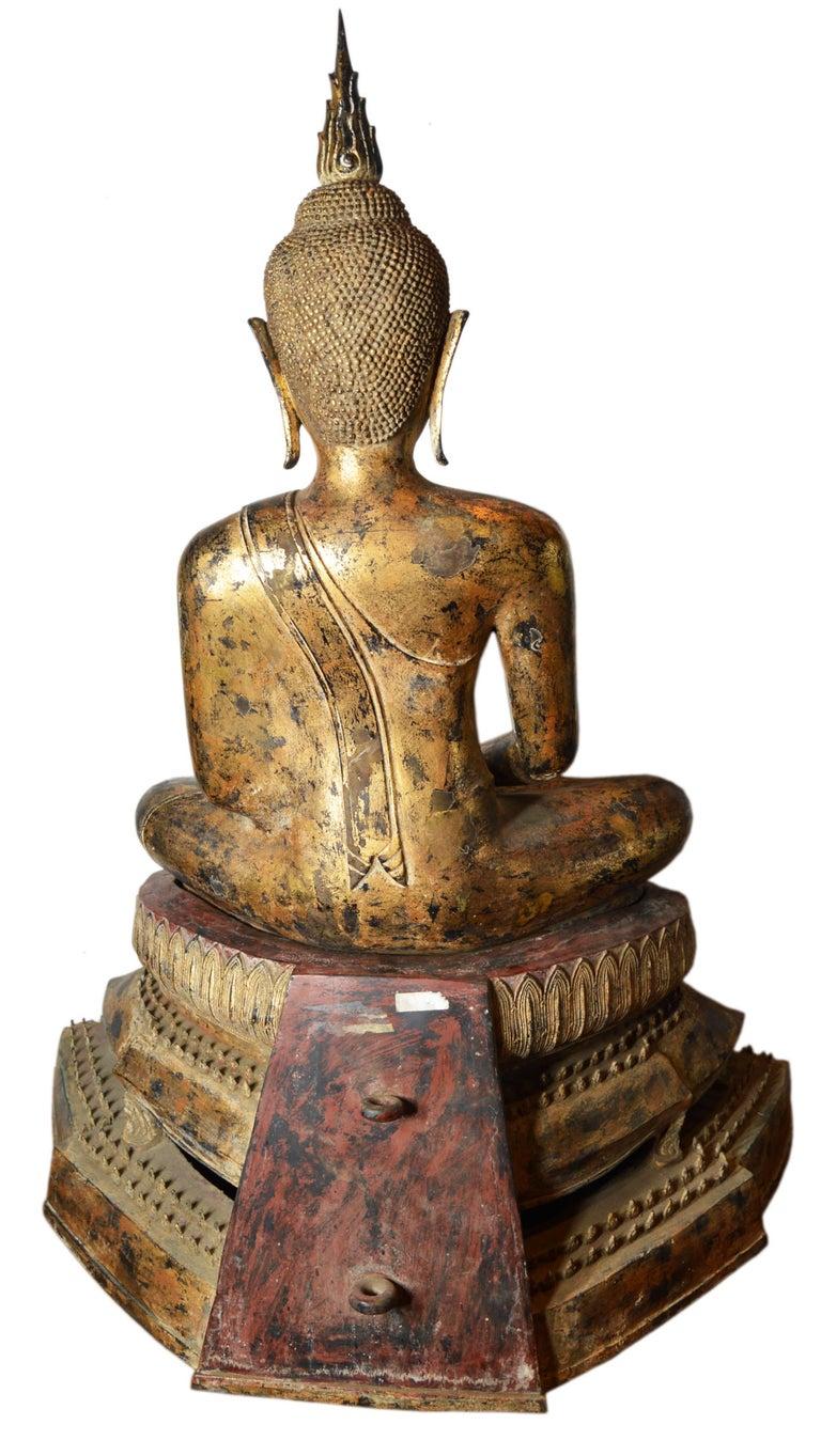 19th Century Thai Gilded Bronze Meditative Seated Buddha Statue on Pedestal For Sale 4
