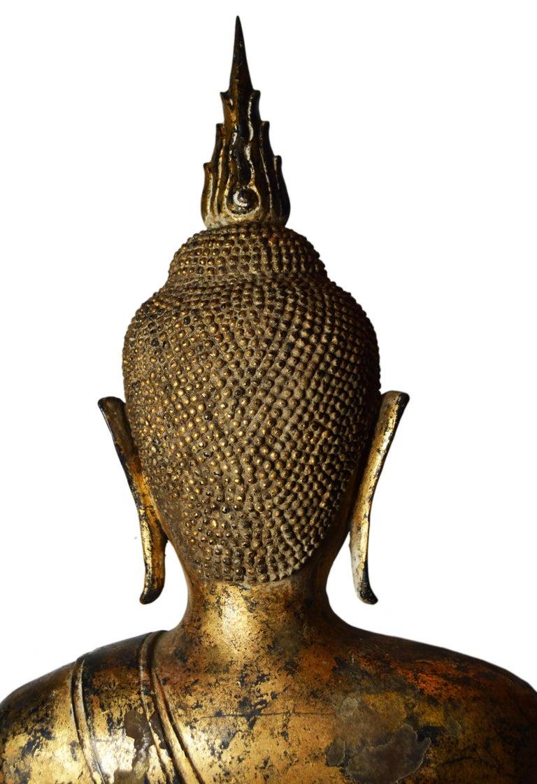 19th Century Thai Gilded Bronze Meditative Seated Buddha Statue on Pedestal For Sale 5