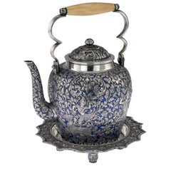 19th Century Thai Royal Silver and Enamel Water-Pot, Tan Yue He, circa 1880