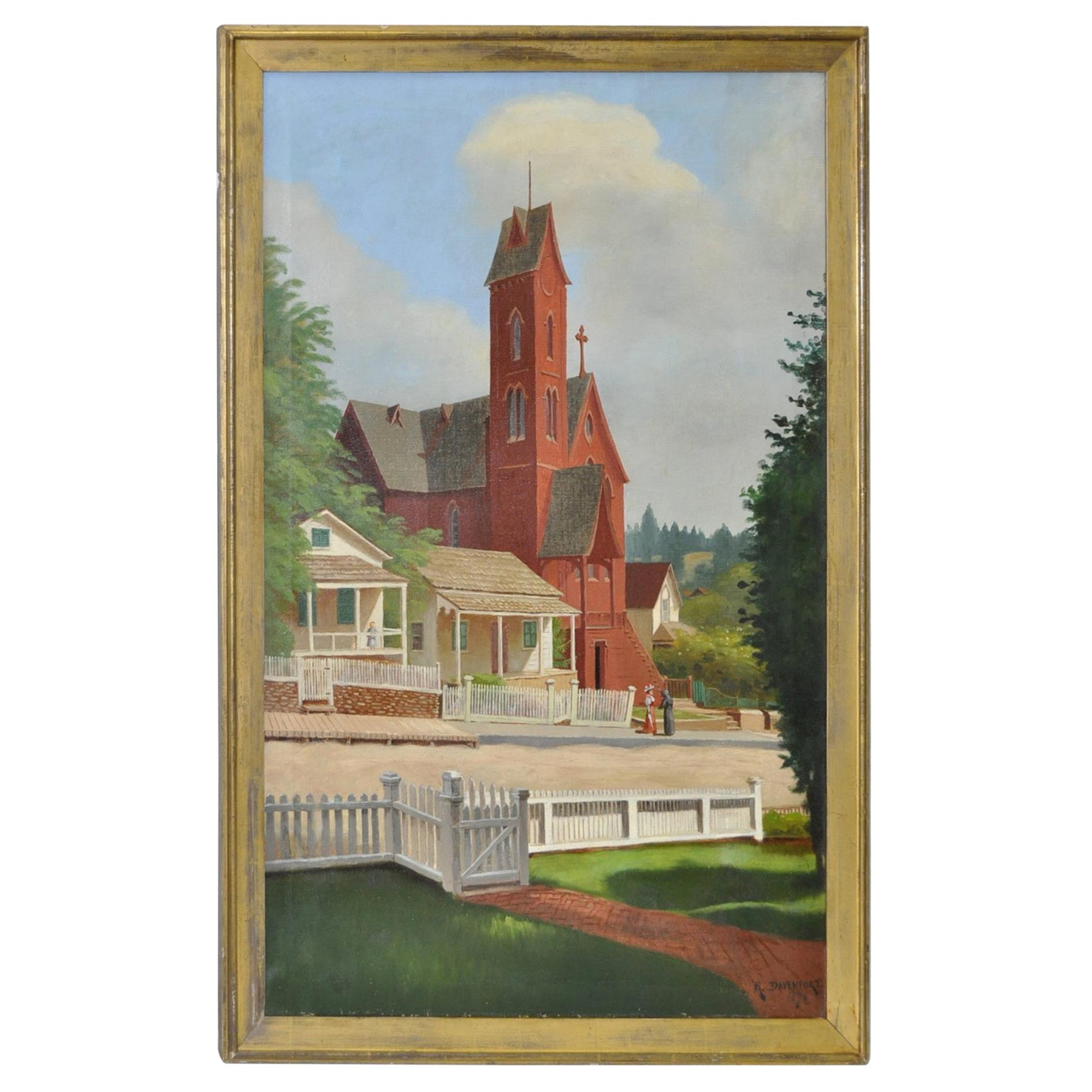 """19th Century """"The Old Church"""" Original Oil Painting by R. Davenport"""