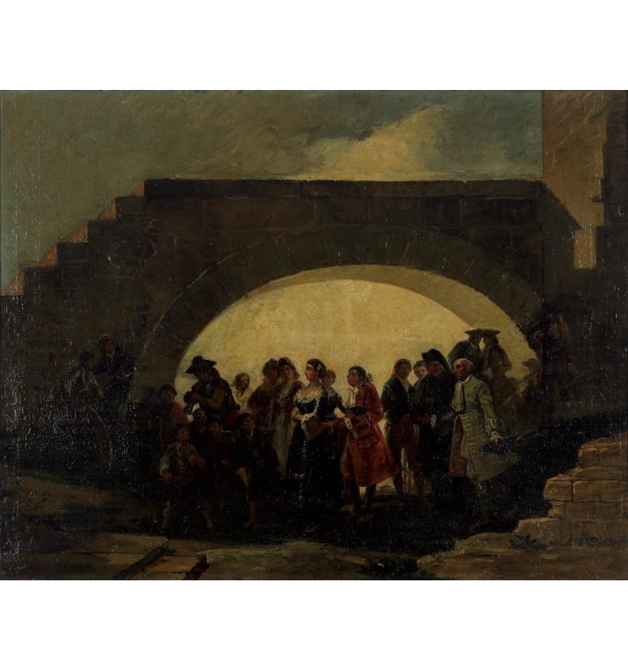 """19th Century """"The Wedding"""" Oil on Canvas Painting by Eugenio Lucas Velázquez"""