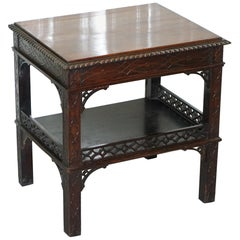 19th Century Thomas Chippendale Fret Work Carved and Pierced Occasional Table