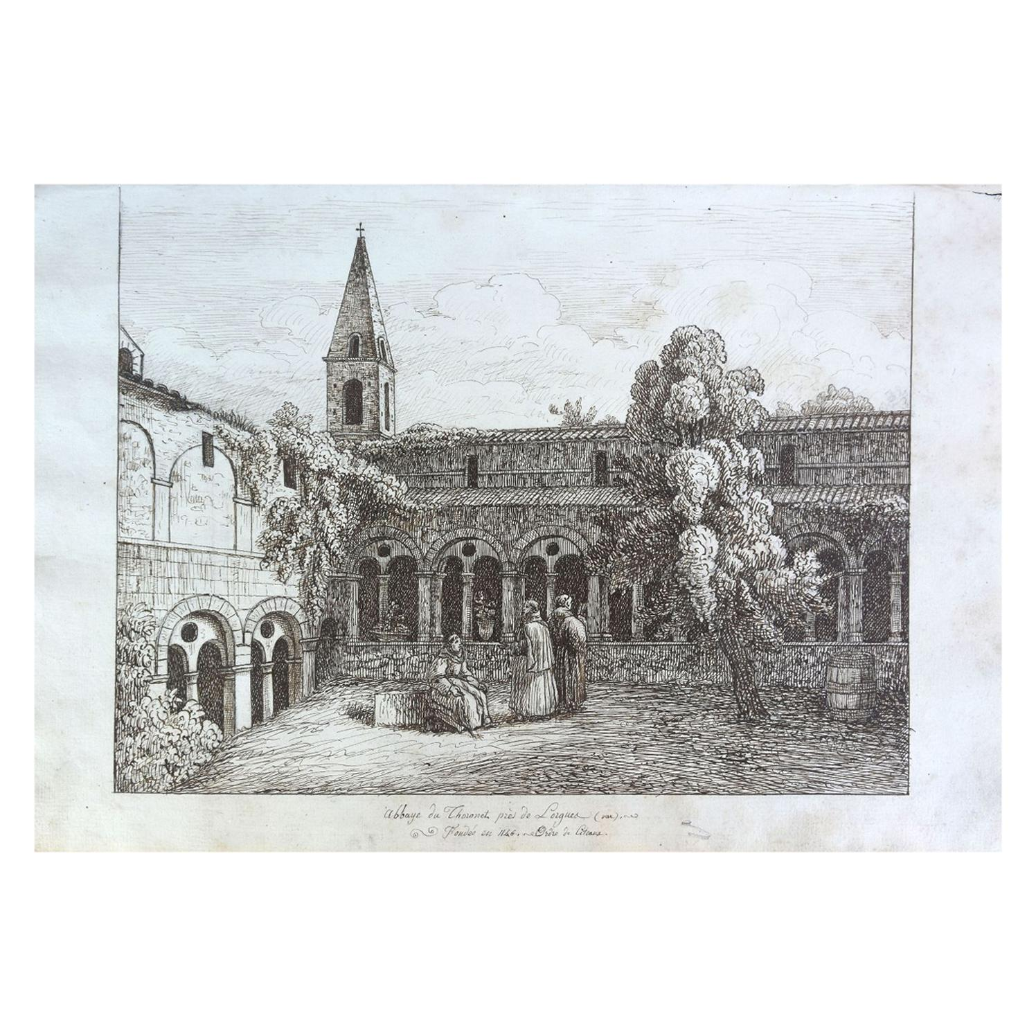 """19th Century """"Thoronet Abbey"""" Watercolor Drawing on Paper from the 18th Century"""