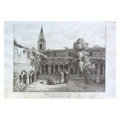 "19th Century ""Thoronet Abbey"" Watercolor Drawing on Paper from the 18th Century"
