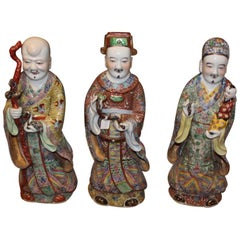 19th Century, Three Large Porcelain Statues Representing 'Sanxing', China