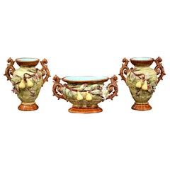 19th Century Three-Piece Set Ceramic Barbotine Vases and Matching Jardinière
