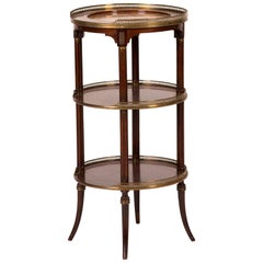 19th Century Three-Tier Side Table in Mahogany with Marble Top and Brass Galley