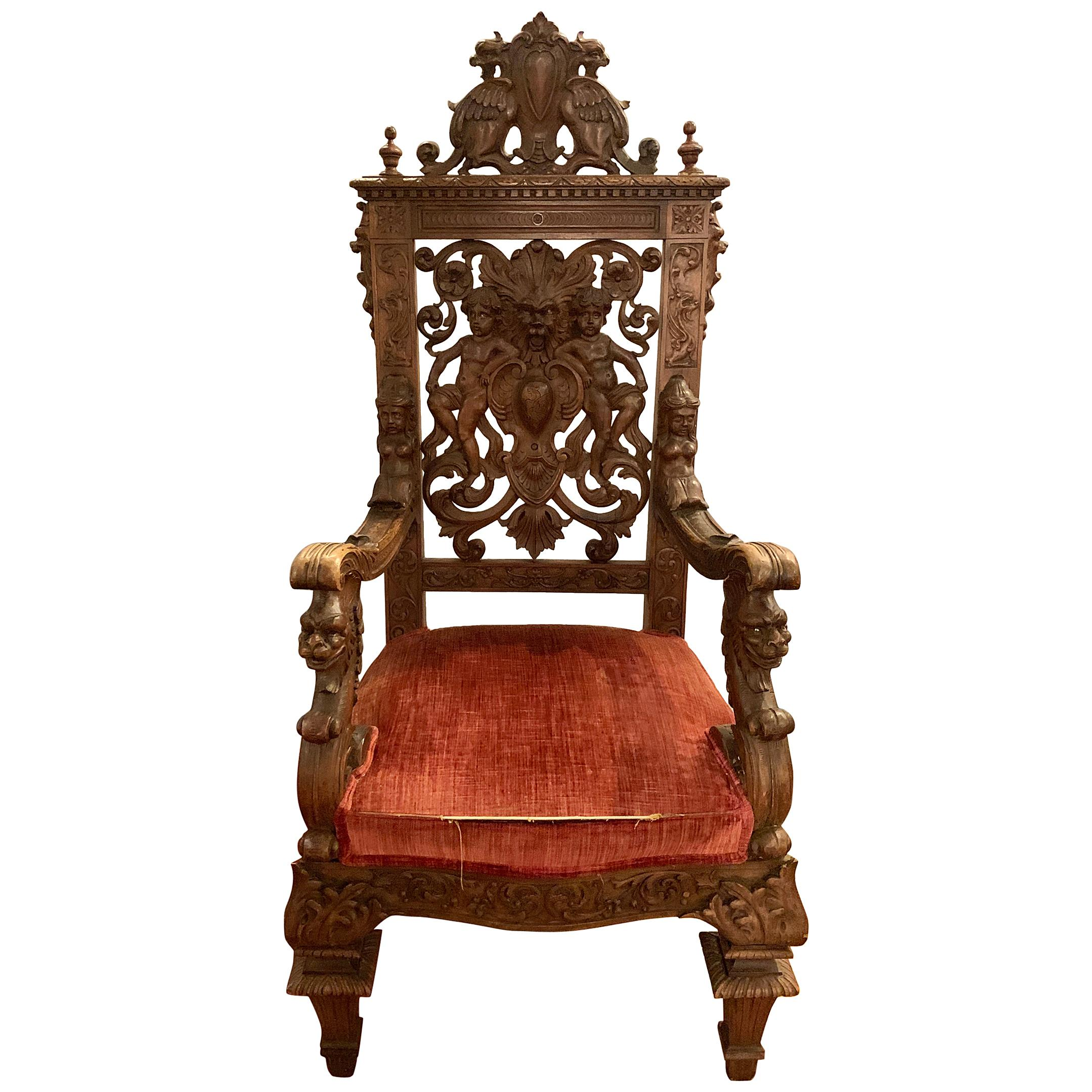 19th Century Throne Chair Manner or Herter Brothers