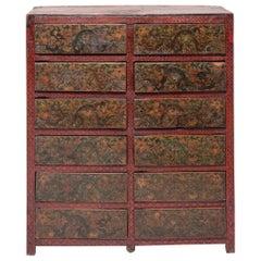 19th Century Tibetan 12 Drawer Dragon Cabinet