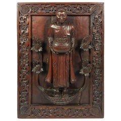 19th Century Tibetan Carved Hardwood Wall Panel
