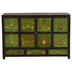 19th Century Tibetan Polychrome and Green-Painted Cabinet