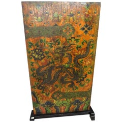20th Century Tibetan Red and Green Door in Polychrome Wood with Natural Pigments