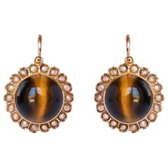19th Century Tiger's Eye Natural Pearls 18 Karat Rose Gold Lever, Back Earrings