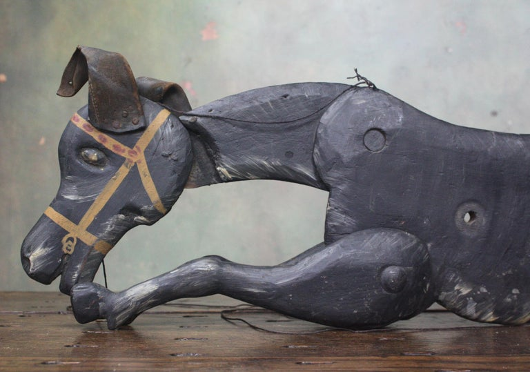 Pine 19th Century Tiller & Clowes Marionette Donkey Puppets Circus Fairground For Sale