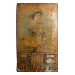 19th Century Tin Plate Perpetual Calendar Advertising Carr's Biscuits, 1893-1904