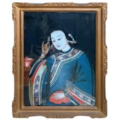 19th Century to Turn of the Century Chinese Framed Portrait Painting of Woman
