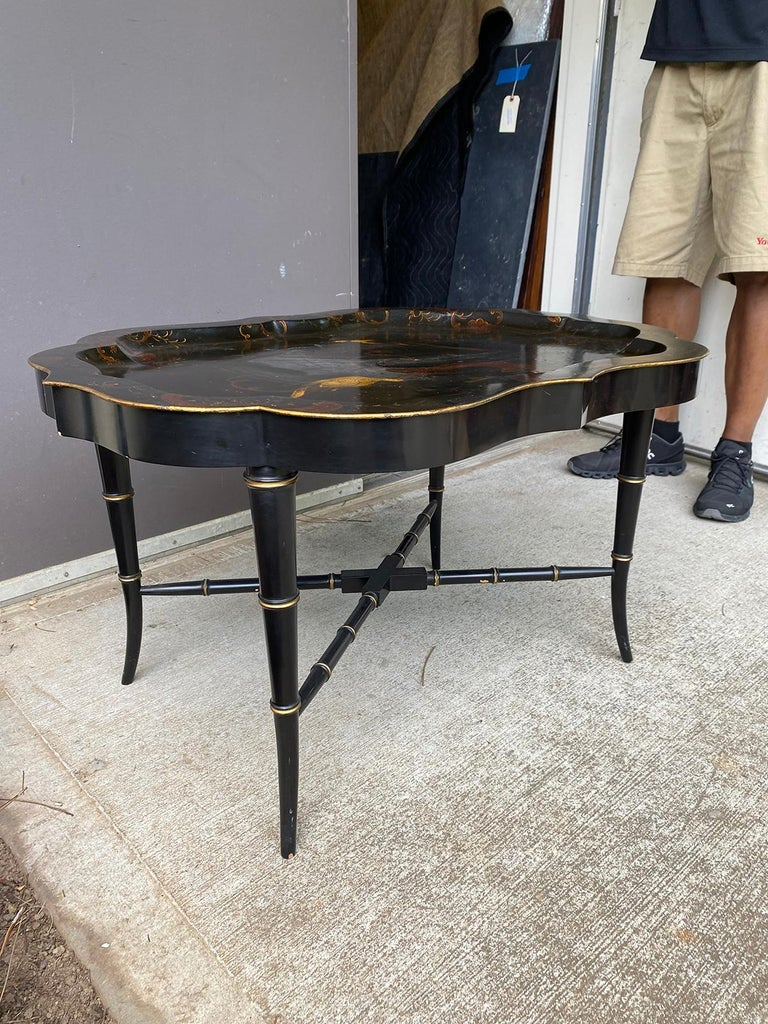 19th Century Tole Tray Table on Custom Ebonized Faux Bamboo Stand 1