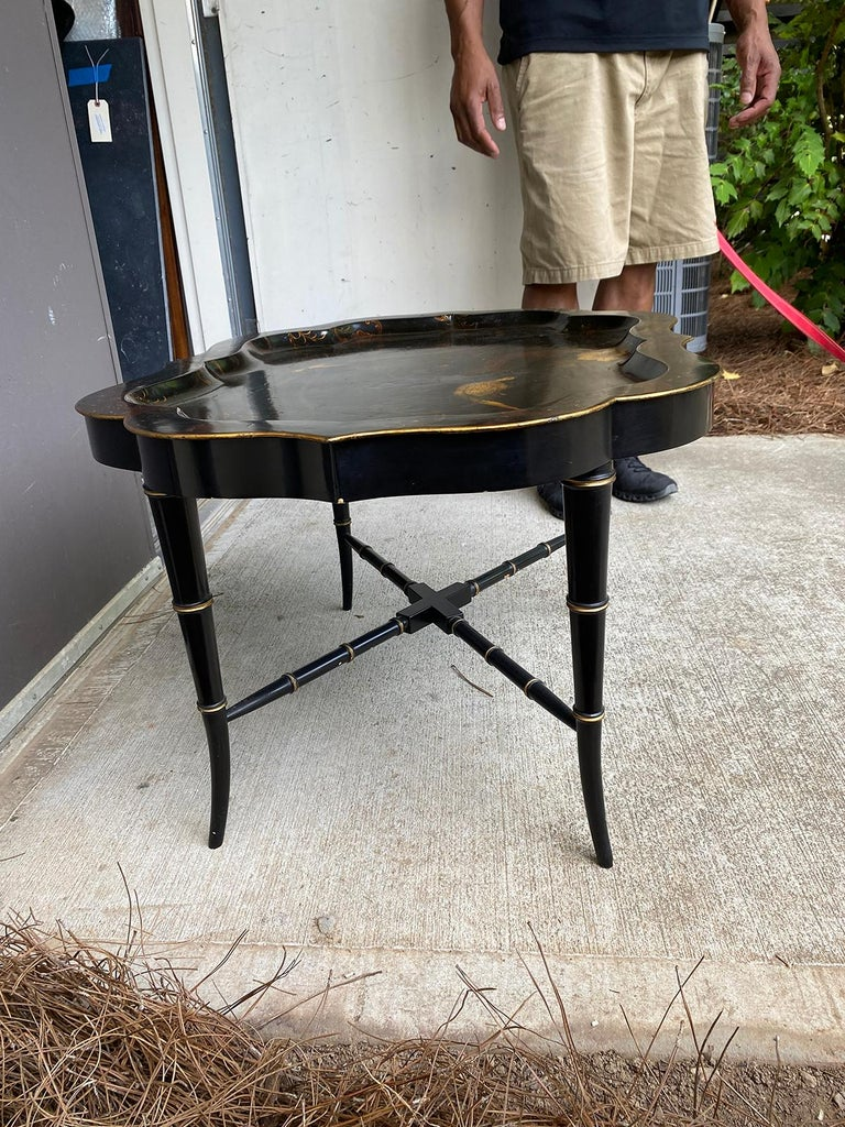 19th Century Tole Tray Table on Custom Ebonized Faux Bamboo Stand 2