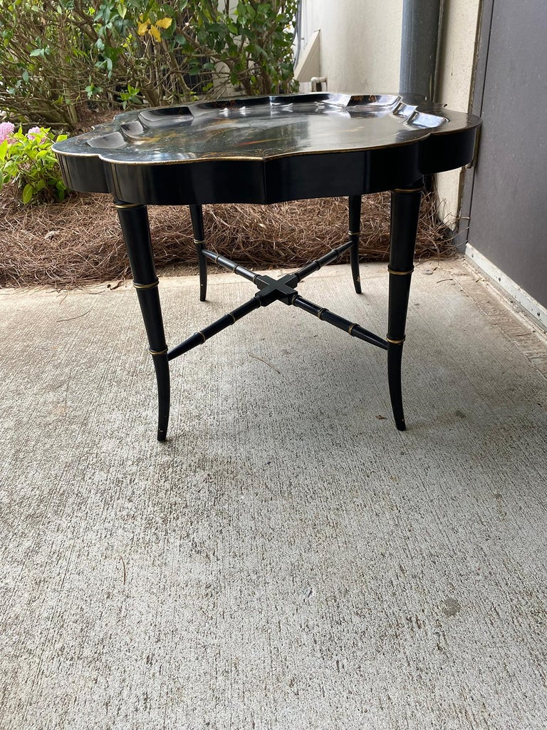 19th Century Tole Tray Table on Custom Ebonized Faux Bamboo Stand 3