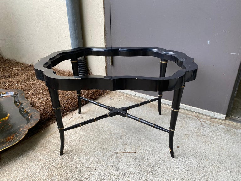 19th Century Tole Tray Table on Custom Ebonized Faux Bamboo Stand 4