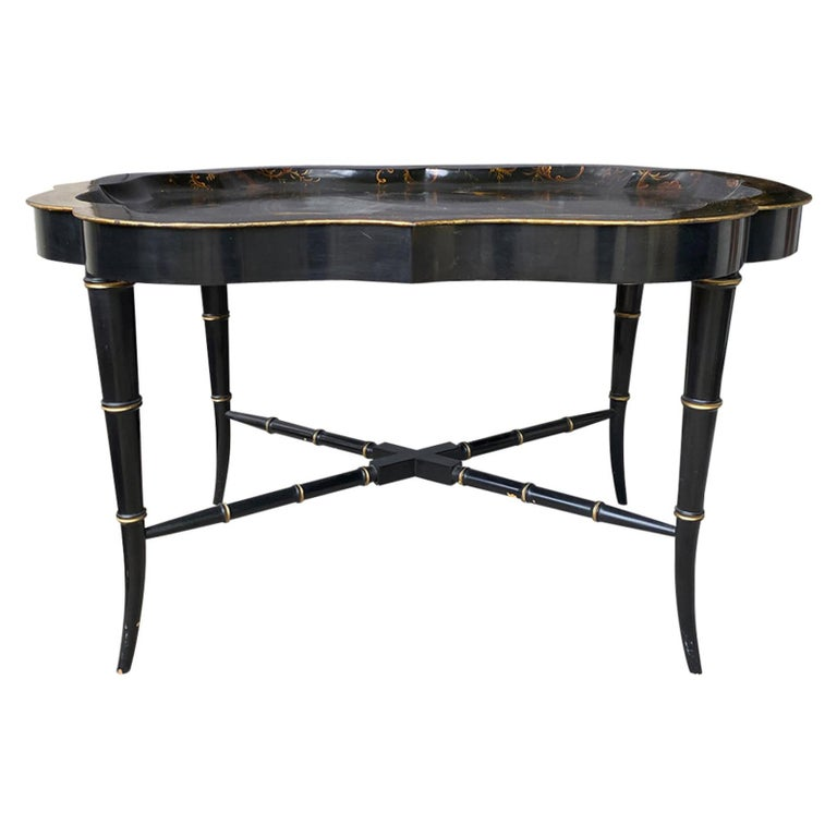 19th Century Tole Tray Table on Custom Ebonized Faux Bamboo Stand