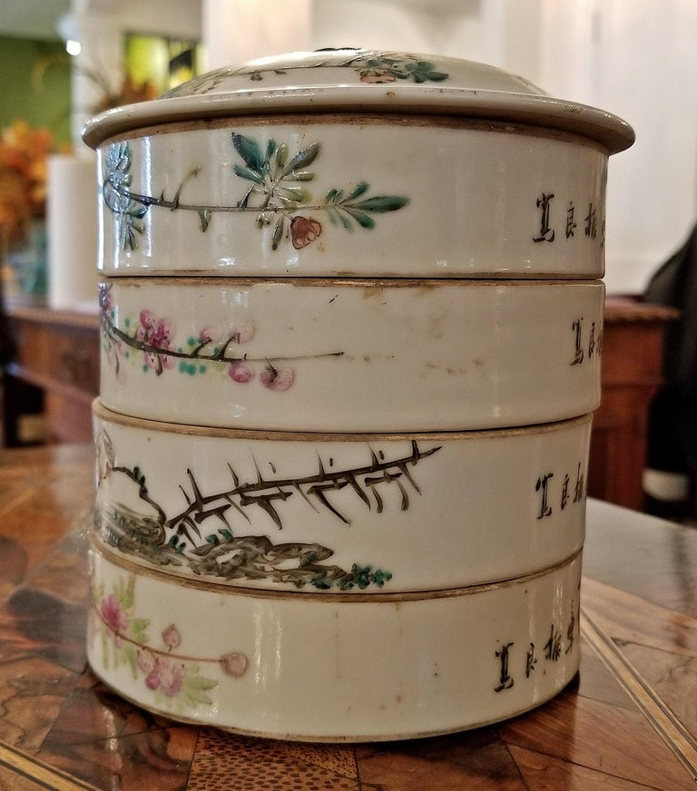 Hand-Painted 19th Century Tongzhi Dynasty Stackable Bowls with Lid For Sale