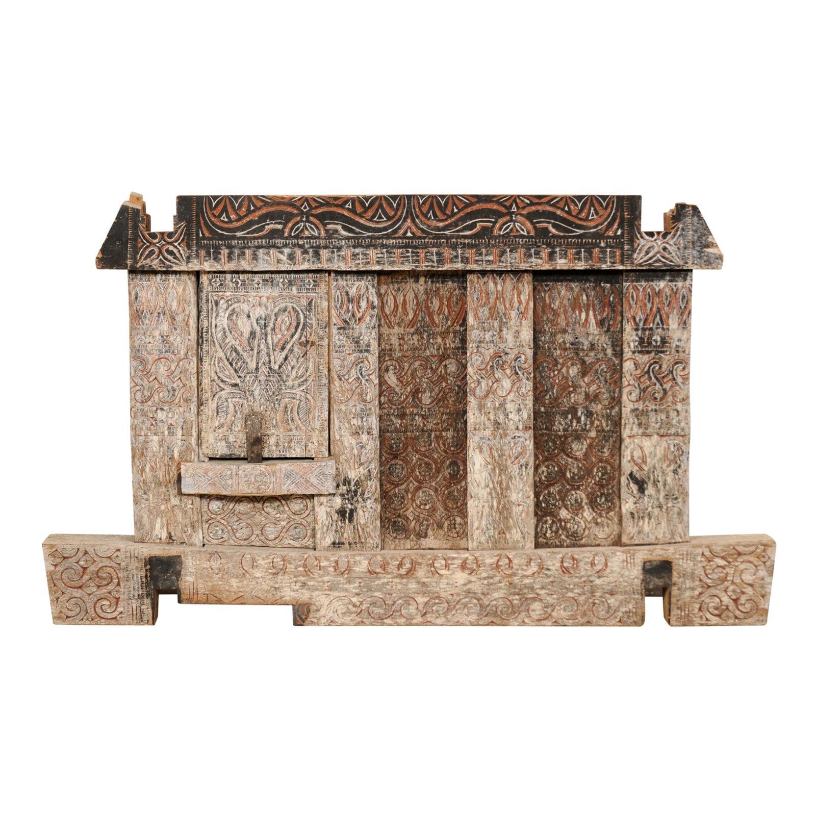 19th Century Toroja Wooden Granary Panel from Sulawesi