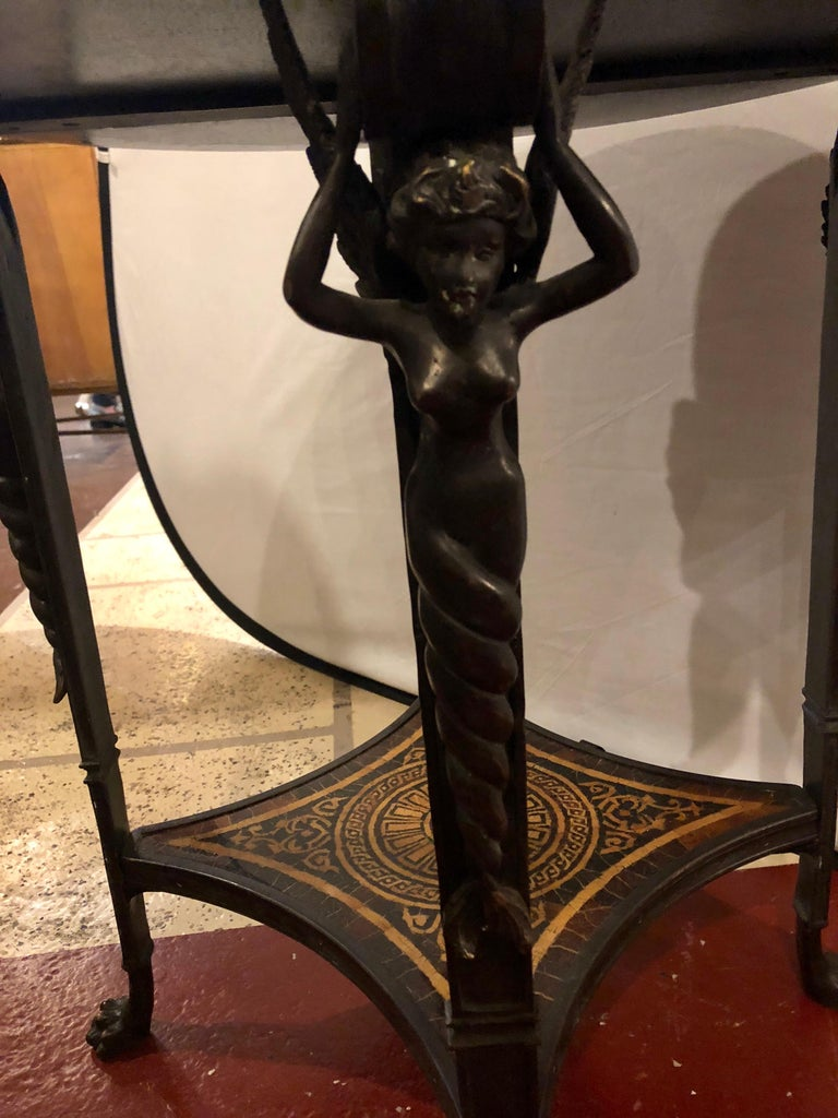 19th Century Tortoise Shell Top Bronze Figural Center or End Lamp Table For Sale 7
