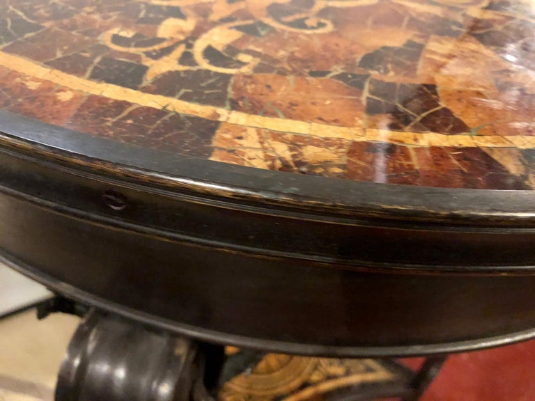 19th Century Tortoise Shell Top Bronze Figural Center or End Lamp Table For Sale 9