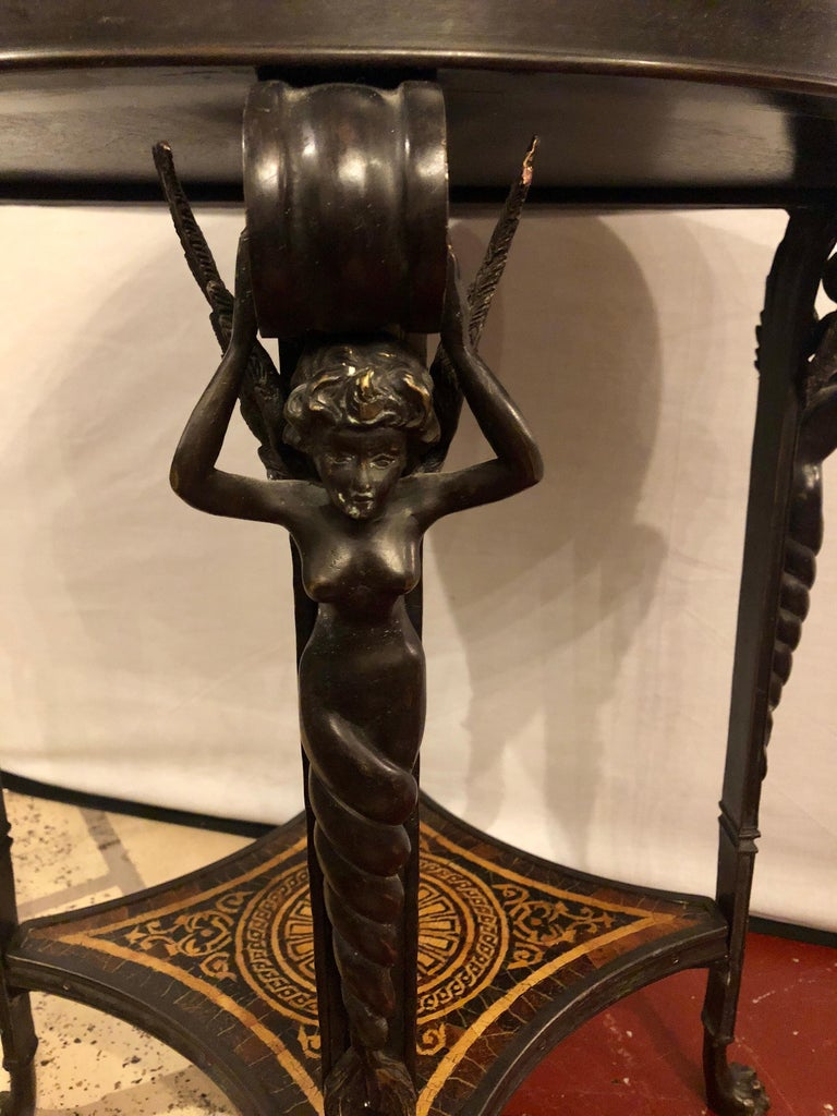 19th Century Tortoise Shell Top Bronze Figural Center or End Lamp Table For Sale 2