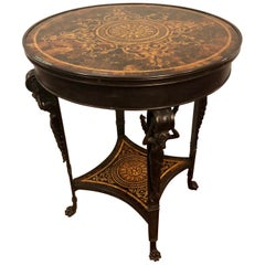 19th Century Tortoise Shell Top Bronze Figural Center or End Lamp Table