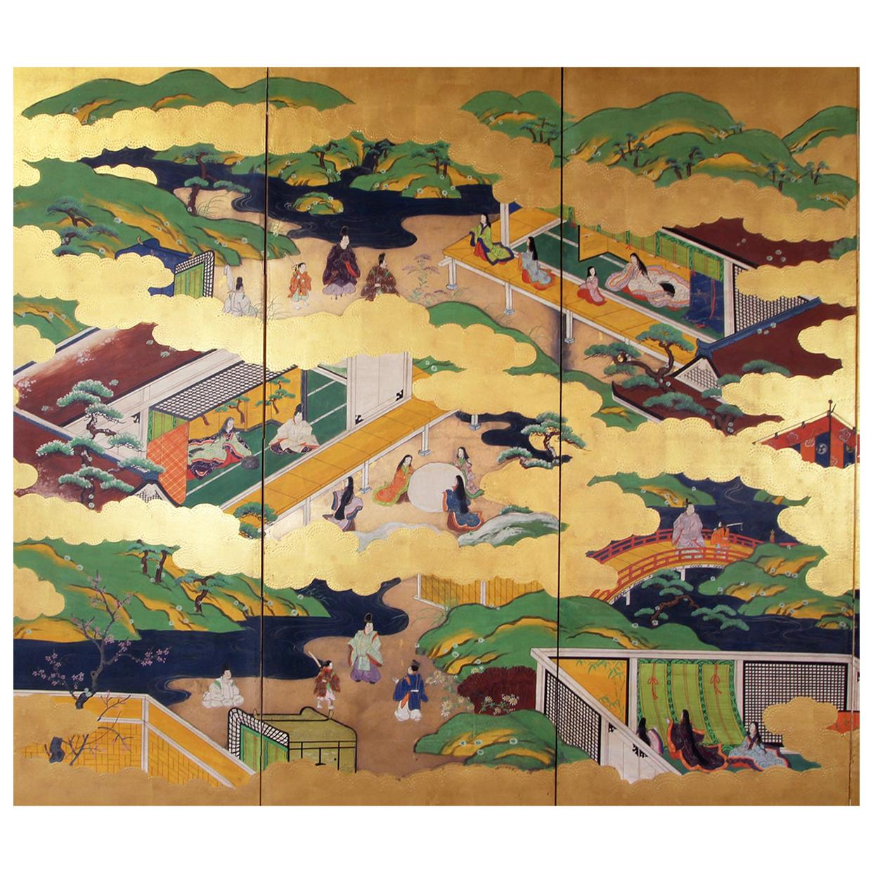 Buddhist 19th Century Tosa School Japanese Folding Screen Six Panels Gold Leaf