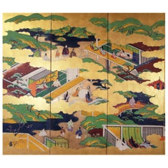 19th Century Tosa School Japanese Folding Screen Six Panels Gold Leaf Rise Paper