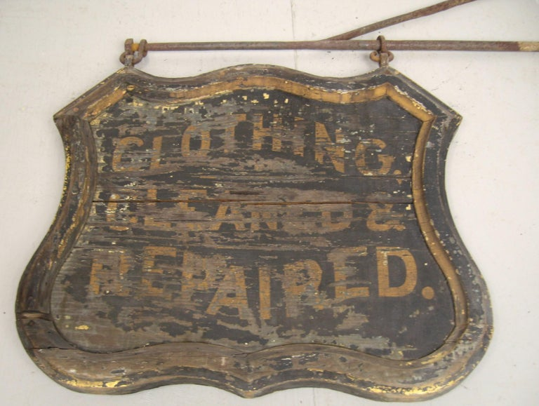 19th Century Trade Sign Clothing Wood Double Sided Wooden Hudson Valley NY  For Sale 5
