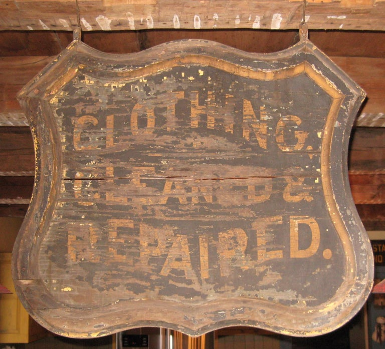 Primitive 19th Century Trade Sign Clothing Wood Double Sided Wooden Hudson Valley NY  For Sale