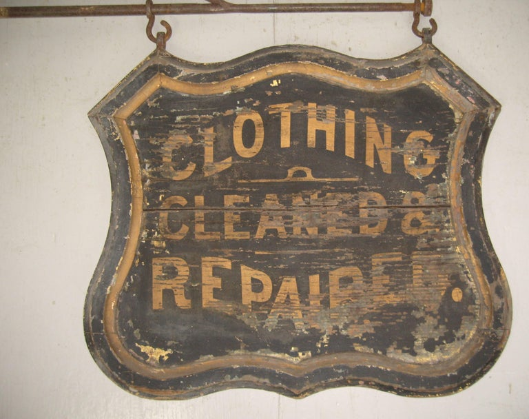 Hand-Crafted 19th Century Trade Sign Clothing Wood Double Sided Wooden Hudson Valley NY  For Sale