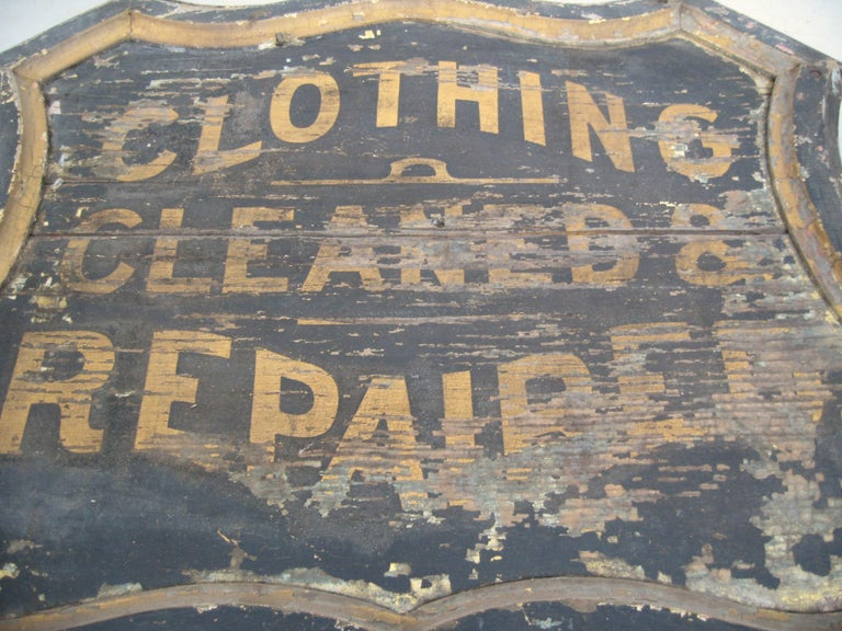19th Century Trade Sign Clothing Wood Double Sided Wooden Hudson Valley NY  For Sale 1