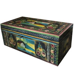 19th Century, Traditional Mexican Lacquered and Hand-Painted Blanket Chest