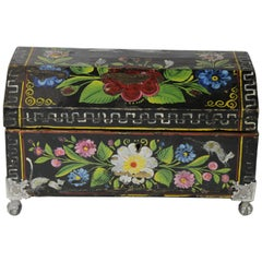 19th Century, Traditional Mexican Lacquered and Hand Painted Chest