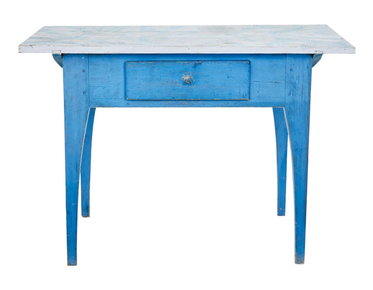 19th Century Traditional Rustic Painted Swedish Side Table 2